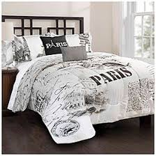 bedroom sets lots: living colorsa queen size  piece eiffel tower reversible comforter set at big lots
