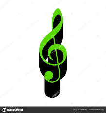 Music Violin Clef Sign G Clef Treble Clef Vector Green 3d Ic