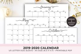 Calendar Template Monthly 2020 2020 Calendar Printable 2019 2020 Calendar Template Monthly Calendar 2019 Monthly Planner Instant Download