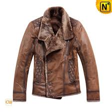 men s warm tailored collar leather shearling jacket cw819066