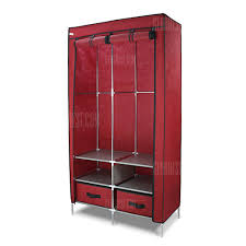 wardrobe 2 doors 2 drawers red finether duble door portable zip closet