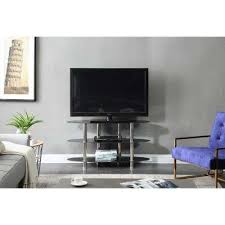 wide glass tv stand with 3 shelves
