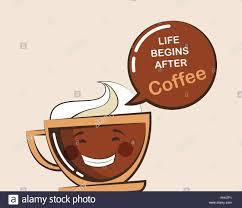 Emoji Café Tasse Avec Drôle Citation Vector Illustration Vecteurs
