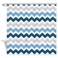 grey and white chevron shower curtain. fun and bold dark navy blue, grey, white retro chevron zigzags stripes pattern grey shower curtain