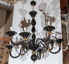 italian traditional venetian chandelier with black murano glass and gold murano details made in italy