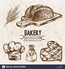 Digital Vector Detailed Line Art Bakery And Bread Hand Drawn Retro