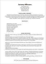General Professional Summary For Resume Professional General Maintenance Technician Templates To Showcase