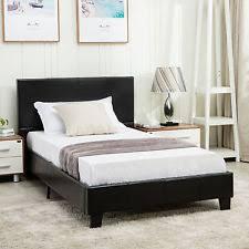 twin platform bed frame. Twin Size Faux Leather Platform Bed Frame \u0026 Slats Upholstered Headboard Bedroom R