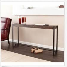 wood console table narrow sofa entryway