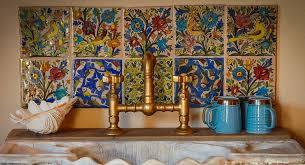 kitchens vintage kitchen with unique colorful backsplash and