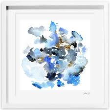 on abstract watercolor wall art with blue hued abstract watercolor framed graphic frame