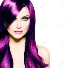 Purple Hair Style beautiful girl with healthy long purple hair and blue eyes stock 8169 by wearticles.com