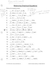 balancing chemical equations practice worksheet with answers 1 applicable problems