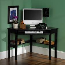 ... Nice Interior Computer Desk For Small Room Simple Corner Spot Black  Color Painted Interior Decorating Shelving ...