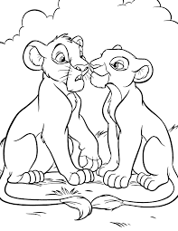 The Lion King Young Simba And Nala Coloring Page Disney Lol