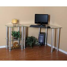 rta glass corner computer desk with extension table silver ct 0135
