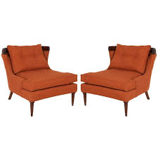 Pair Erwin Lambeth Lounge Chairs In Burnt Orange Linen at 1stdibs