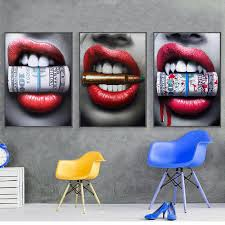 <b>SELFLESSLY</b> Wall <b>Art Prints Posters</b> Sexy Red Lips Bite Bullet and ...