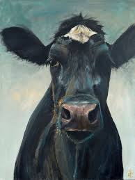 hattie the cow painting hattie canvas print of an original painting