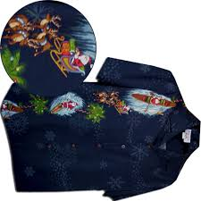 Santa Christmas Mens Hawaiian Shirts Navy