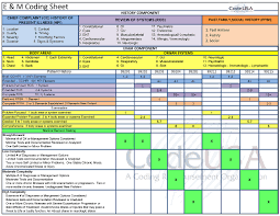 Evaluation And Management Coding Chart E M Spreadsheet Medical Coding Medical Billing Coding