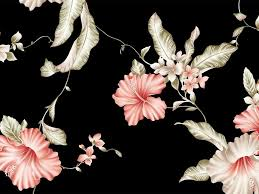 Asian Flower Pattern On Black ...