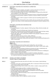 Technician Resume Example Industrial Maintenance Technician Resume Samples Velvet Jobs 10