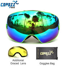 professional weaknesses promotion shop for promotional copozz brand professional ski goggles 2 double lens anti fog weak light anti fog spherical skiing glasses men women snow goggles