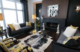 wall colors for black furniture. black paint living room furniture yellow accents fireplace wall colors for