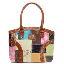 Coach Holiday Matching Stud Medium Brown Multi Satchels EIG