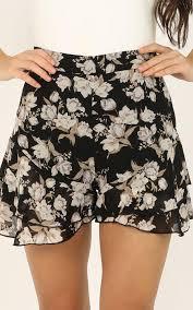 <b>Flower</b> Blossom Shorts In <b>Black Floral</b> | Showpo