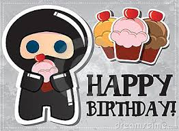 ninja party clipart. Exellent Party Happy Birthday Card With Cute Cartoon Ninja Stock Images  Party Clipart E