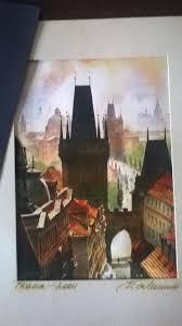 prague watercolour paintings pair signed unframed czech republic 28cm hi