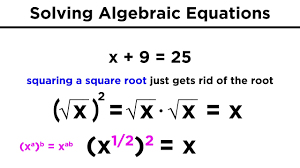 solving algebraic equations with roots and exponents