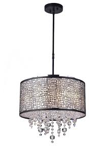 anais 4 light black metal and crystal drum chandelier