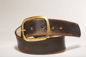 vintage distressed leather snap belt brass buckle handmade in usa