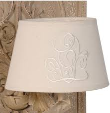 french stately shabby chic wall lamp cream linen shade image 2