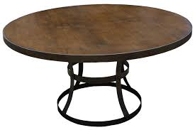 Wood And Metal Round Dining Table Dining Tables Mortise Tenon
