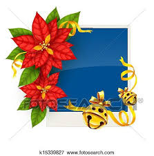 Poinsettia Card Christmas Greeting Card With Poinsettia Flowers And Gold Jingle Bells Clip Art