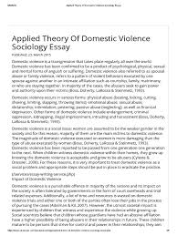applied theory of domestic violence sociology essay domestic applied theory of domestic violence sociology essay domestic violence violence