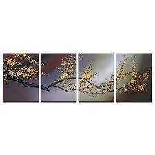 wieco art plum blossom large modern 4 panels gallery wrapped contemporary floral giclee canvas prints gold flowers pictures paintings on canvas wall art  on yellow blue and gray wall art with wall art yellow grey blue and brown amazon