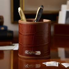 limited ion design stock ralph lauren alligator embossed saddle brown leather pencil cup 4 x 3 inches hotel contract orders only