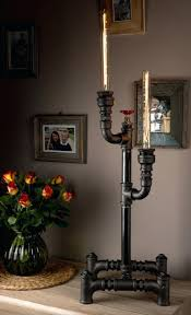 industrial style home lighting. Floor Lamp Handmade In Table Industrial Style Iron Pipes With Dimmer And Antique Bulbs Round Cloth Wire Plug Adjustable Lamps Walmart Halogen Home Large Lighting