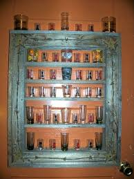 shot glass display shelf rustic trimmed with rusty by shot glass display