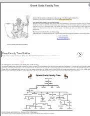 12 Olympians Chart Greek Gods Family Tree And Genealogy Pdf Greek Gods