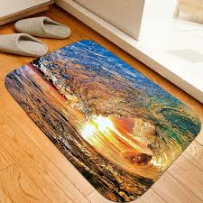 latest dusk surfing print flannel skidproof bathroom rug