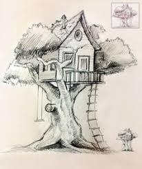 how to draw a treehouse step by step. Simple Draw Tree House Drawing Inside How To Draw A Treehouse Step By