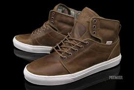 brown leather high top vans