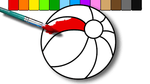 Small Picture Colouring a Beach Ball Coloring Page for Kids to Learn Colors and