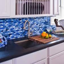 blue mosaic tile backsplash. Wonderful Tile Blue Mosaic Tile Kitchen Backsplash And Sink In S
